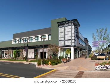 Row of shops in an new outdoor shopping mall.