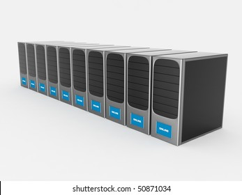 Row of silver servers