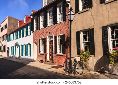 Row of southern architecture buildings in downtown Charleston, South Carolina.