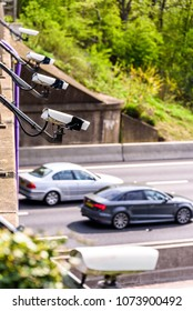 Row of Speed cameras monitoring traffic on UK Motorway