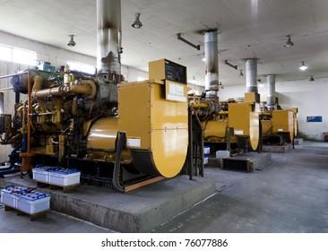 Row of standby diesel generators