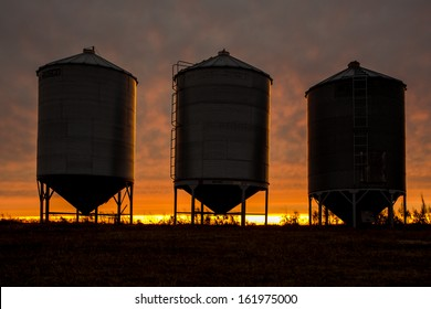 A row of steel grain bins at sunset