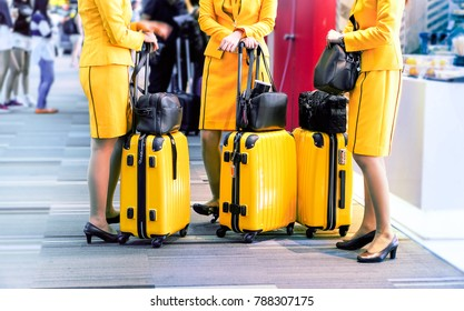 Row of stewardess with luggage trolley at departure gate - Flight attendants standing by international airport - Airline hostesses holding bags and personal baggage before departure