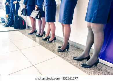 Row of stewardess and pilot at departure gate ready for boarding wearing blue airline uniform - Flight crew standing aligned by international airport - Perspective of attendants legs  focus on middle