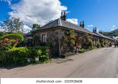 A row of stone cottages in the village of Luss on the banks of Loch Lomond, Scotland, Britain