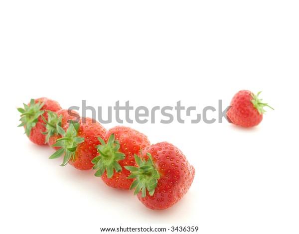 row of strawberries