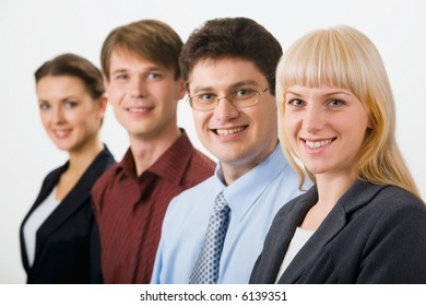 Row of  successful business entrepreneurs on the white background