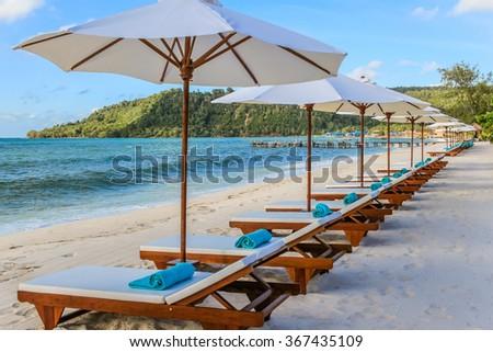 Row Sunbeds Towels Beach Resort Stock Photo Edit Now