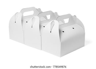 Row of Takeaway Cake Boxes on White Background