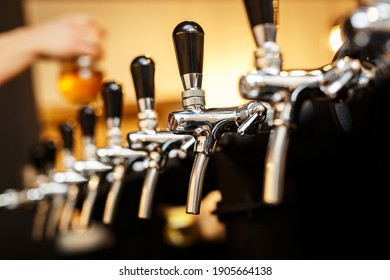 Row of taps in a beer tap