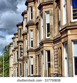 A row of terraced houses in Glasgow West End, Scotland