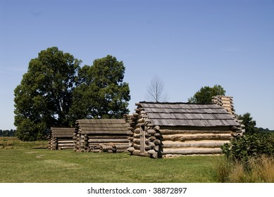 Row of three soldiers' huts in Valley Forge National Park