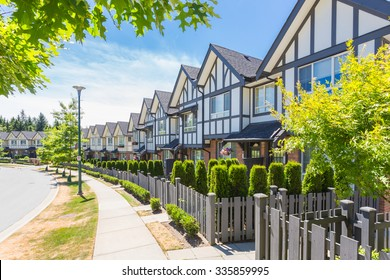 Row of townhouses in a residential neighbourhood in Canada.