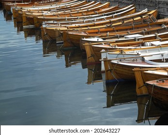 A row of traditional norwegian wood boats at Stavern on the southern coast of Norway