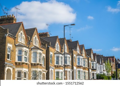 Row of traditional terraced houses around Crouch End area in London