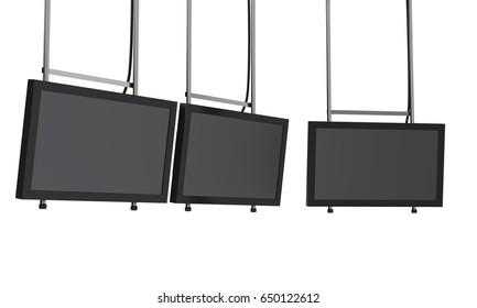 row of tv hanging display. 3D rendering