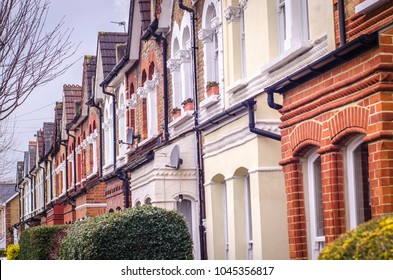Row of typical British terraced houses in south west London
