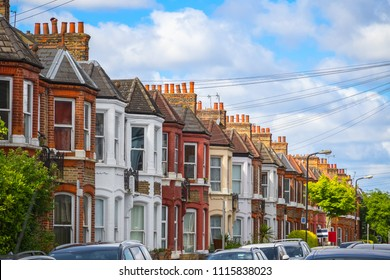 A row of typical British terraced houses around Kensal Rise in London