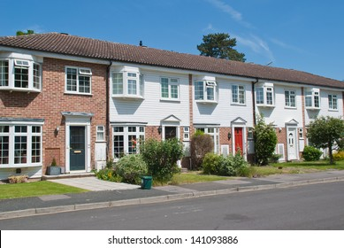 Row of Typical English Terraced Houses, South East of the UK
