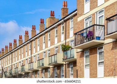 Row of typical English terraced houses in London