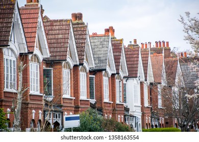 A row of typical terraced houses in London
