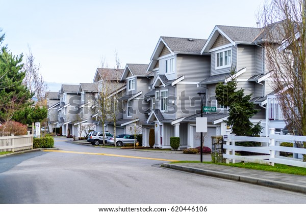 A row of typical townhouses in Vancouver, Canada