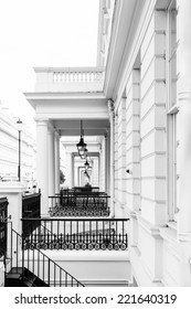 A row of typical Victorian facades found in the better living areas in London - creative black and white approach