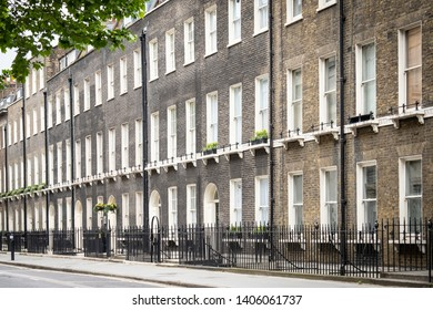 Row upmarket residential townhouses in Bloomsbury area of Central London