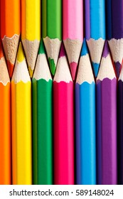 Row of the vertical Color pencils close up