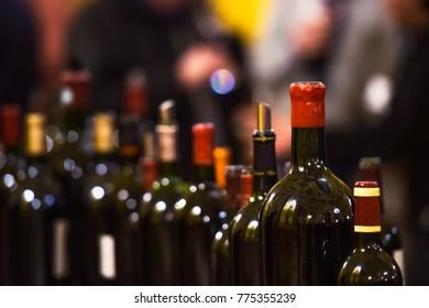 Row of vintage wine bottles in luxury wine cellar, Drink