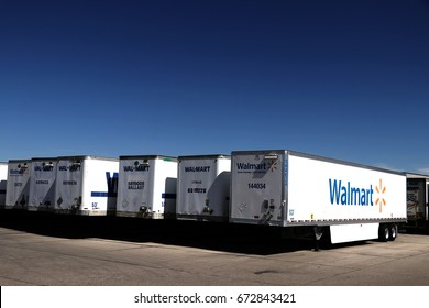 Row of Wal-Mart Trailers parked at a Distribution Center in rural Oregon.  June 20th, 2017 Rural Oregon, USA