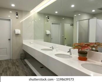 Row of wash sink with big mirror in public toilet