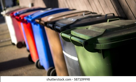 Row of Wheelie Bins for Recycling Waste