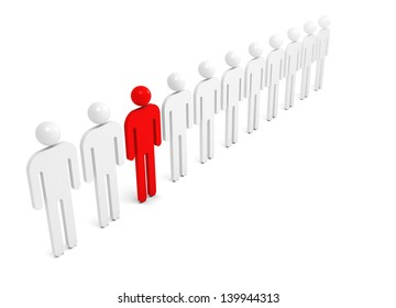 Row of white abstract people with one red individual figure