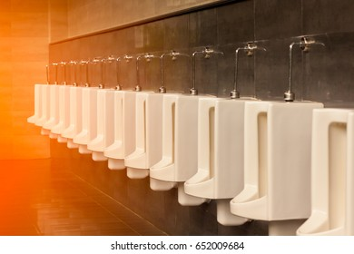 A row of white porcelain urinals.Selective focus point in public toilets with morning light.