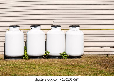 Row of white propane cylinders in the backyard of a house
