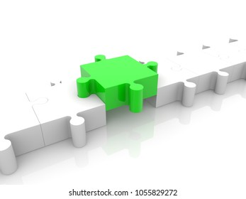 Row of white puzzle pieces with green one in the middle.3d illustration