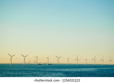 Row of Wind Turbines Border/Background