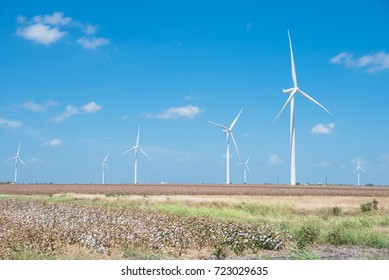 Row of wind turbines with cotton fields again blue cloud sky in Corpus Christi. Enormous size windmills generate clean, sustainable and green energy source.  Future of renewable power concept.