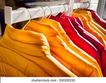 row of winter jackets - photo