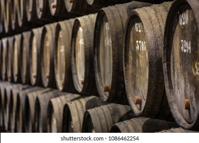 Row of wooden porto wine barrels in wine cellar Porto, Portugal.