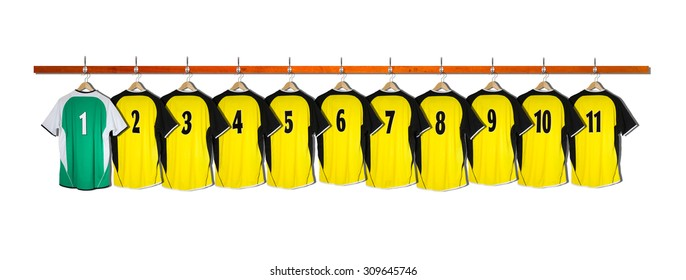 Row of Yellow Football Shirts with Green Goalie Shirt 1-11