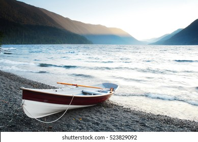 Rowboat Beached on Lake Crescent, Olympic National Park, USA
