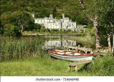 Rowboat, Kylemore Abbey in Connemara, County Galway, Ireland