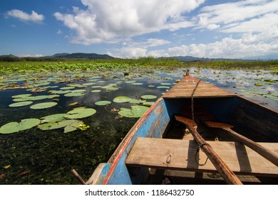 A rowboat on Lake Yojoa in Central Honduras
