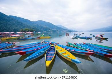 rowboat symbol of Phewa lakeshore in Pokhara city , Nepal