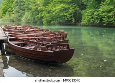 Rowboats moored at Plitvice Lakes