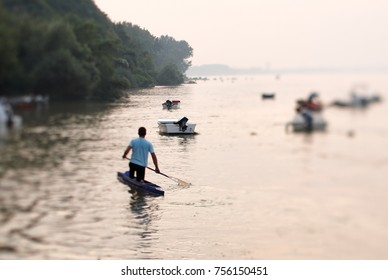 Rower on a river