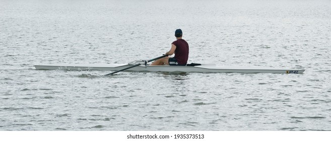 A rower on the river Guadalquivir, Andalusia, Spain