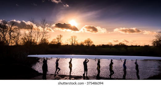 Rowers in the sunset